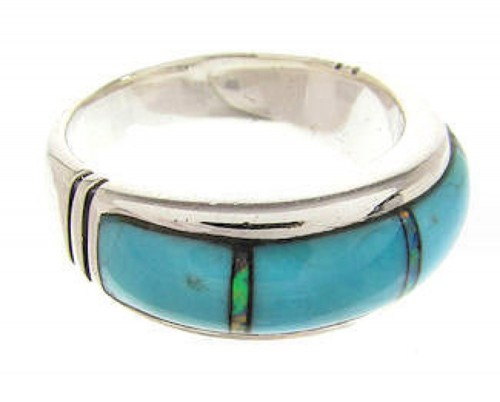 Turquoise Opal Inlay Southwestern Ring Size 5-3/4 PS58006