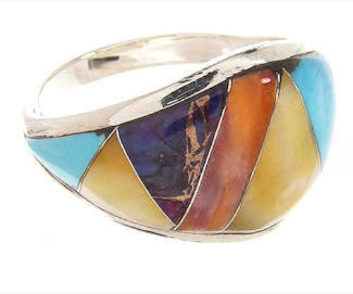Multicolor Inlay Genuine Sterling Silver Ring Size 7-3/4 CS59431