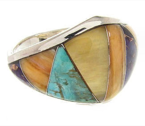 Sterling Silver Southwest Multicolor Ring Size 7-3/4 CS59554