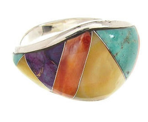 Sterling Silver Multicolor Southwest Ring Size 7-3/4 CS59581