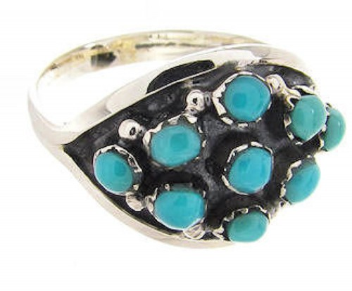 Silver Turquoise Southwestern Ring Size 6-3/4 PS58117