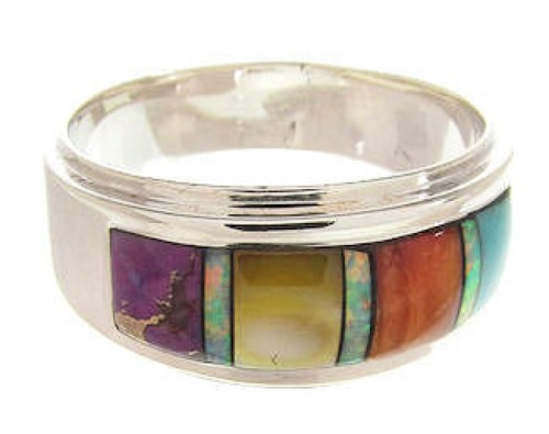 Multicolor Inlay Sterling Silver Southwestern Ring Size 6-3/4 PS58123