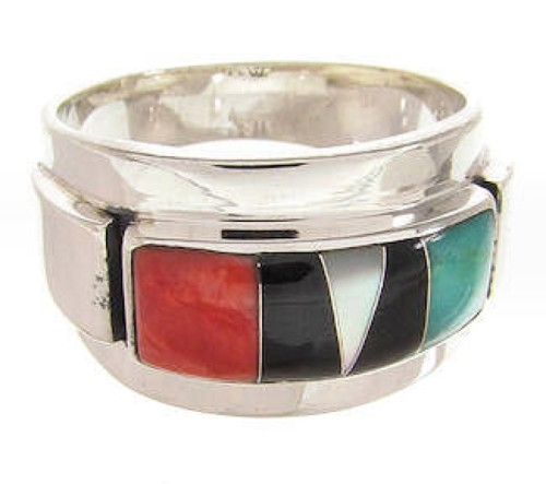 Multicolor And Genuine Sterling Silver Ring Size 7-1/4 XS57911