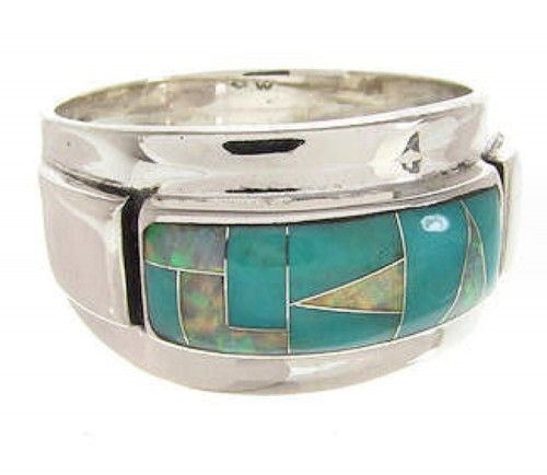 Southwestern Opal Turquoise Genuine Silver Ring Size 6-1/2 XS57972