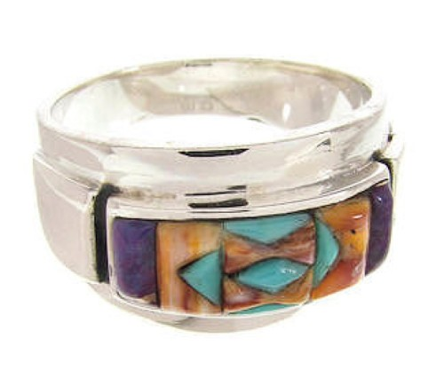 Multicolor Southwestern Silver Ring Size 7-3/4 XS58043
