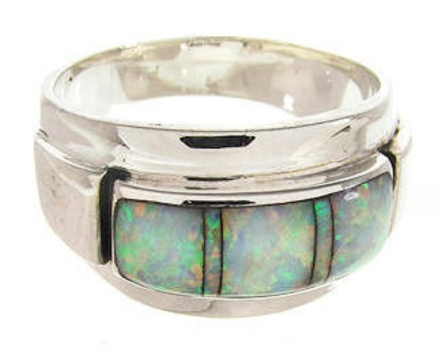 Sterling Silver And Opal Inlay Jewelry Ring Size 7-1/4 AW67983