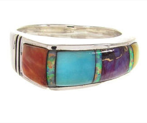 Southwest Multicolor Inlay Silver Ring Size 6-1/4 YS58776