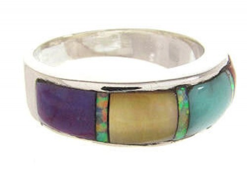 Multicolor Inlay Sterling Silver Ring Size 7-3/4  BS59047