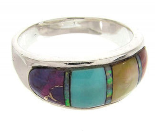 Multicolor Inlay Jewelry Sterling Silver Ring Size 5-3/4 IS57886