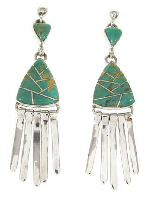 Southwestern  Turquoise Inlay Silver Post Dangle Earrings YS59995