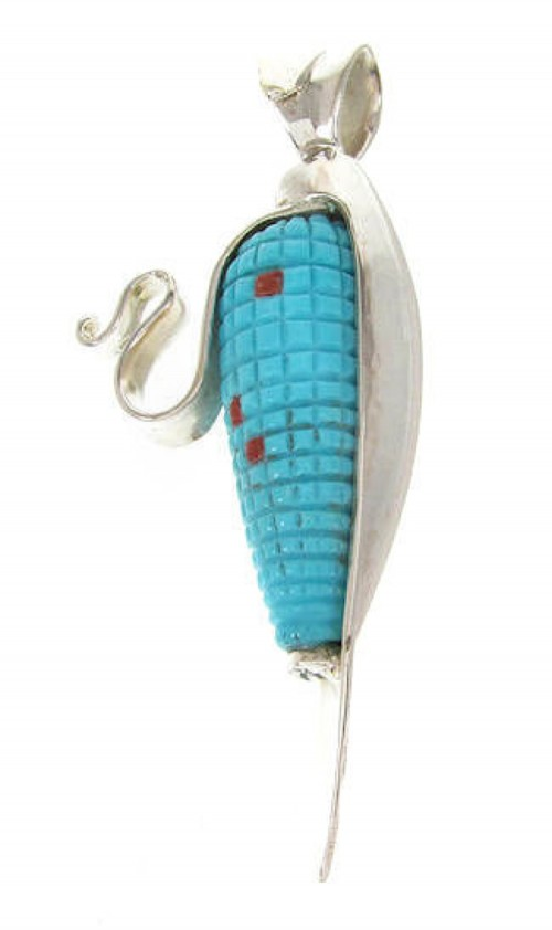 Red Oyster Shell Corn Turquoise Pendant PS59456
