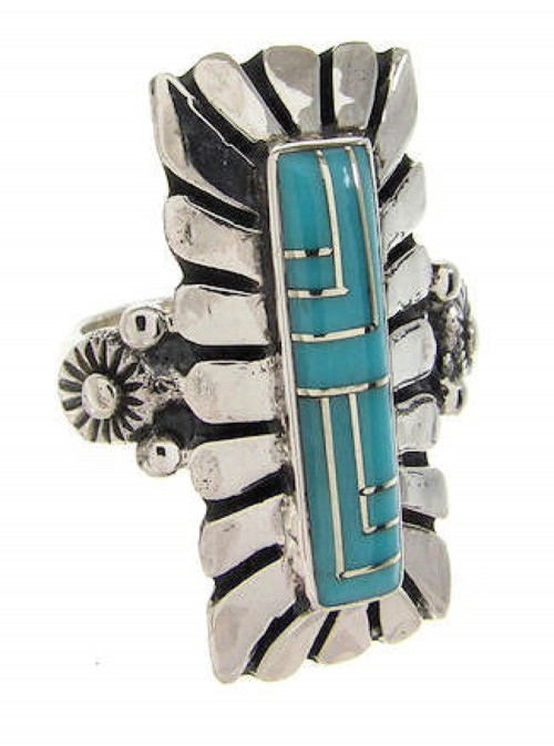 Southwest Turquoise Genuine Sterling Silver Ring Size 6-1/4 OS59347
