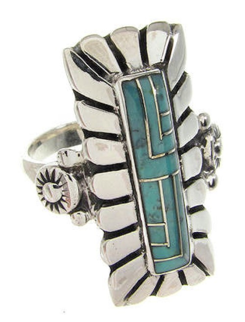 Genuine Sterling Silver Turquoise Southwestern Ring Size 7-1/2 OS59401