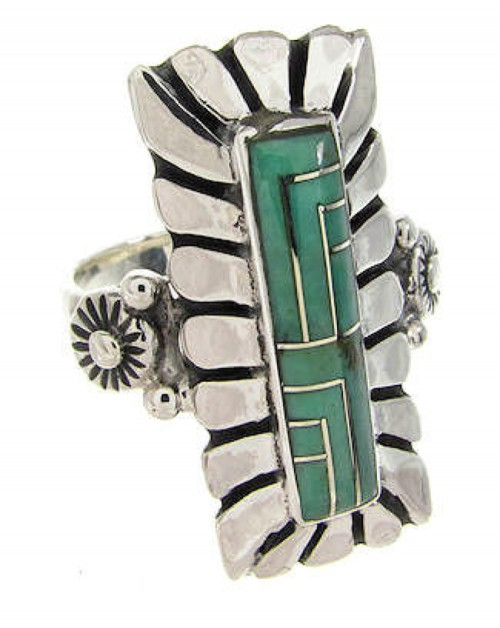 Southwest Turquoise Inlay Sterling Silver Ring Size 7-1/2 OS59415