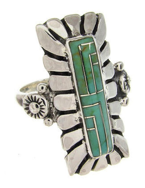 Southwest Turquoise Inlay Sterling Silver Ring Size 7-1/4 OS59470
