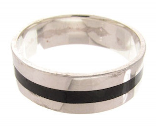 Sterling Silver Onyx Inlay Ring Band Size 6 PS59718