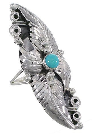 Southwest Turquoise and Sterling Silver Ring Size 5-1/2 VS60933