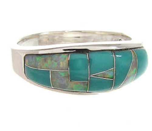 Southwestern Turquoise Opal Silver Jewelry Ring Size 7-3/4 YS59395