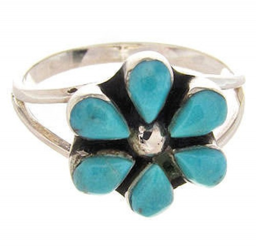 Turquoise Southwestern Flower Ring Size 6-1/2 PS62691