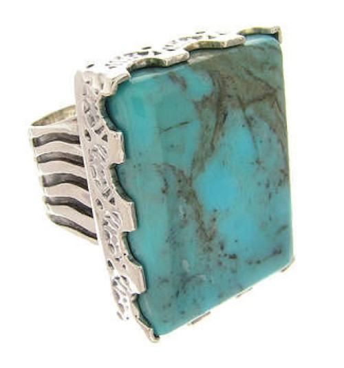 Southwestern Turquoise Sterling Silver Ring Size 5-1/2 YS60485