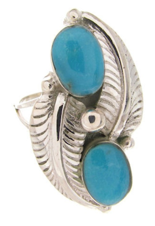 Southwest Turquoise Sterling Silver Ring Size 4-1/2 OS58720