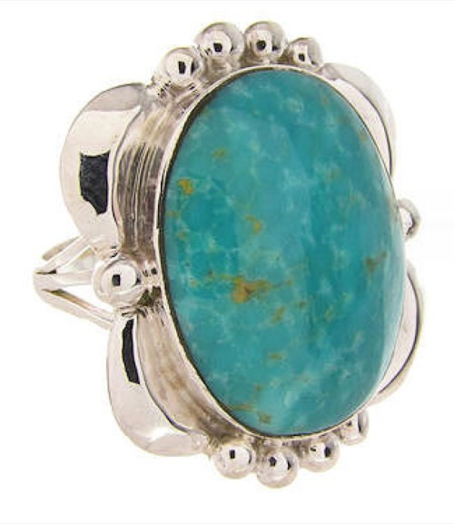 Southwest Turquoise Sterling Silver Ring Size 6-1/2 OS58865