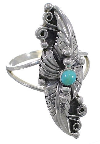 Turquoise Southwest Silver Jewelry Leaf Ring Size 5-1/2 YS60272