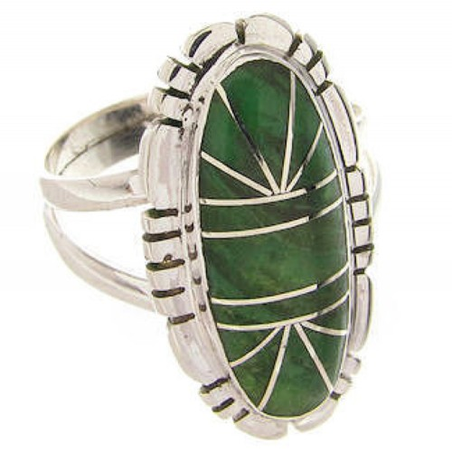 Sterling Silver Green Agate Southwest Jewelry Ring Size 5-3/4 YS60092