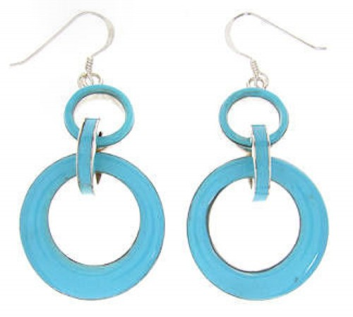 Southwest Silver Turquoise Hook Earrings OS60058