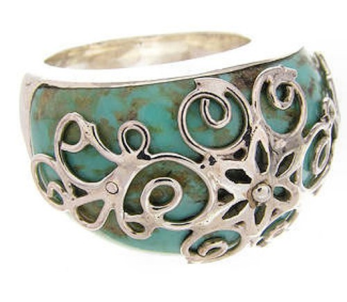 Southwestern Sterling Silver Turquoise Jewelry Ring Size 5-1/2 YS61034
