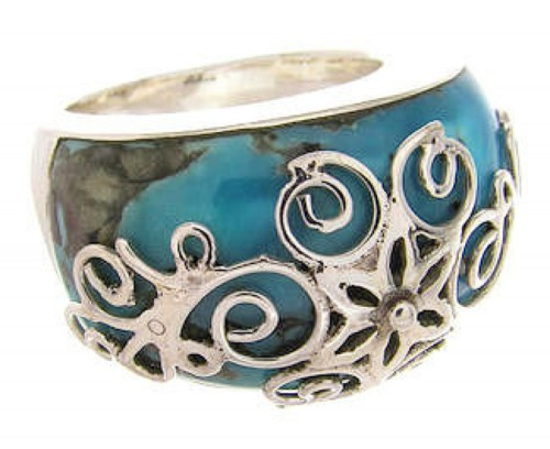Sterling Silver Turquoise Jewelry Southwest Ring Size 5-1/4 YS61076