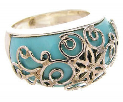 Southwest Jewelry Sterling Silver Turquoise Ring Size 4-3/4 YS61116