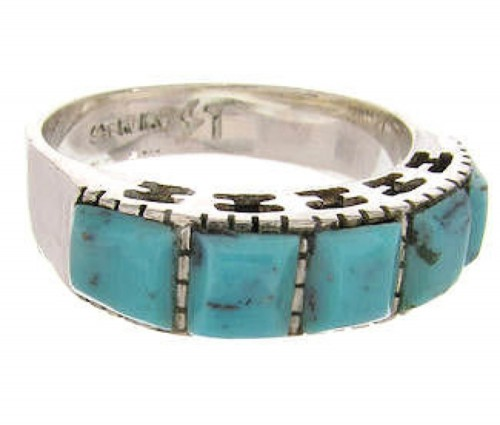 Turquoise Southwest Sterling Silver Jewelry Ring Size 6-3/4 MW63966