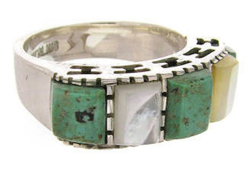 Turquoise Mother Of Pearl Southwest Silver Ring Size 4-3/4 MW64080