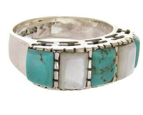 Southwest Turquoise Mother Of Pearl Jewelry Ring Size 5-1/2 MW64113