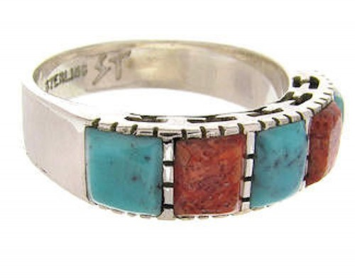Turquoise Apple Coral Southwest Silver Ring Size 5-1/4 MW64257