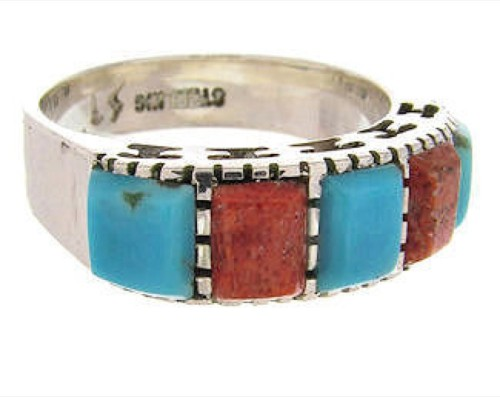 Southwest Turquoise Apple Coral Silver Ring Size 5-1/4 MW64349