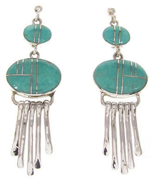 Southwest Post Dangle Turquoise And Silver Earrings IS59815