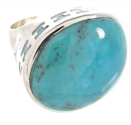 Sterling Silver Turquoise Inlay Ring Size 4-1/2 OS59703