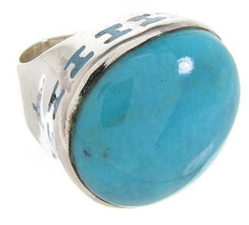 Southwest Sterling Silver Turquoise Ring Size 4-1/2 OS59770