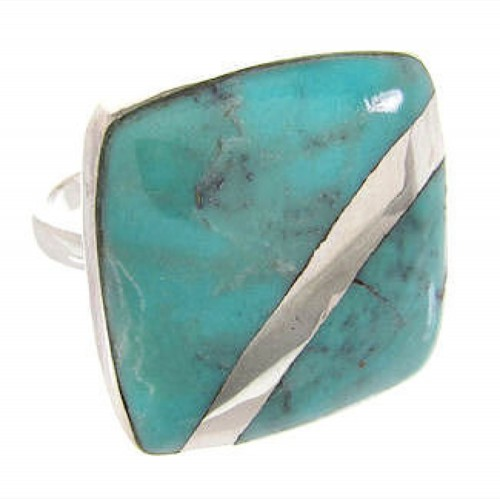 Turquoise Southwest Silver Ring Size 4-3/4 MW63732