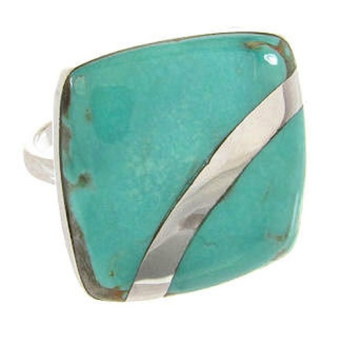 Southwest Turquoise Silver Jewelry Ring Size 5-3/4 MW63818