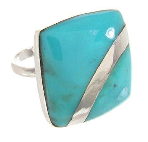 Silver Jewelry Southwest Turquoise Ring Size 5-1/4 MW63838