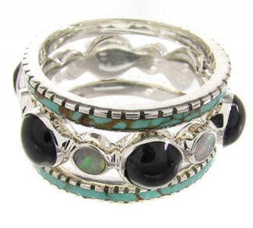 Southwest Stackable MulticolorJewelry Ring Set Size 7-3/4 BW64023