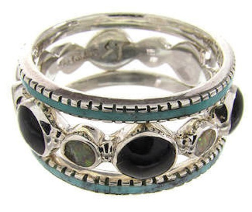Multicolor Southwestern Stackable Ring Set Jewelry Size 5-3/4 BW64212