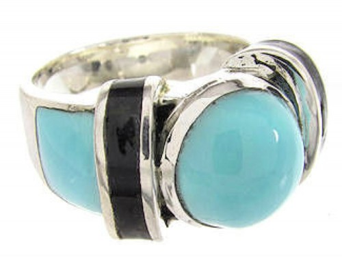Turquoise And Jet Southwestern Jewelry Ring Size 5-1/2 BW62656