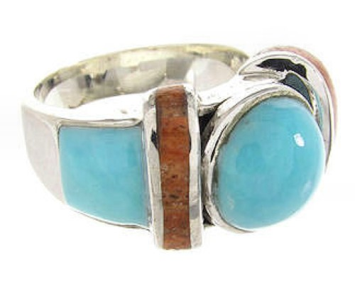 Turquoise And Apple Coral Southwestern Jewelry Ring Size 7-3/4 BW62709