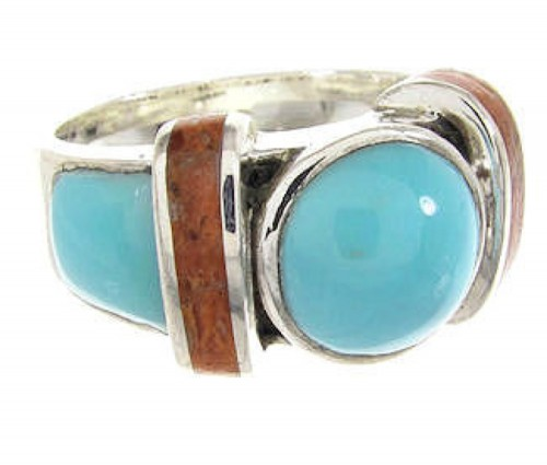 Turquoise And Apple Coral Southwest Ring Size 5-1/4 BW62734