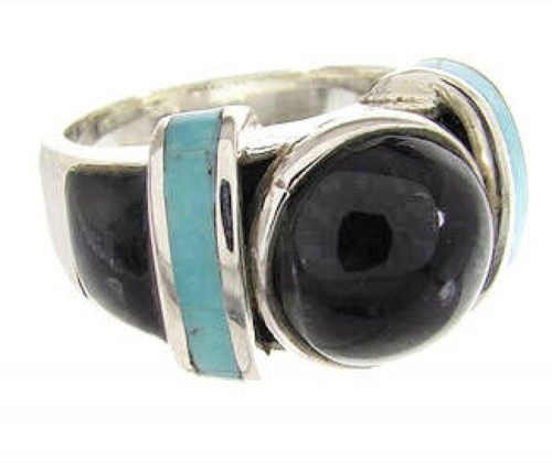 Turquoise And Jet Southwest Jewelry Ring Size 5-1/4 BW62788