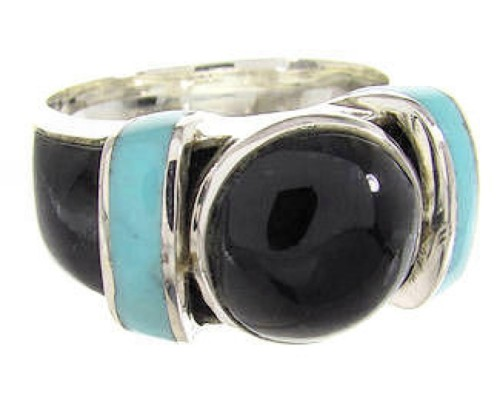 Southwest Ring Turquoise And Jet Jewelry Size 6 BW62813